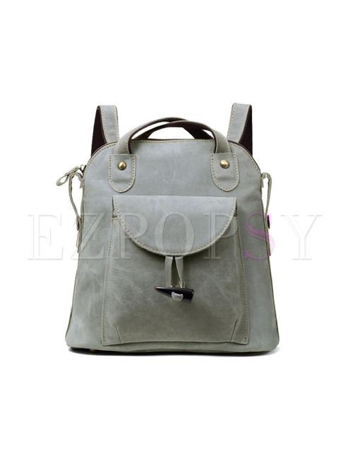 Vintage Grey Cowhide Backpack With Zipper Pocket