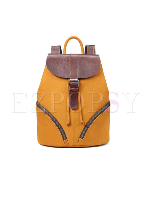 Casual Vintage Brown Backpack With Zippered Pocket