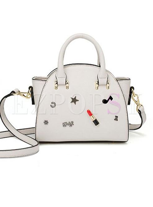 Chic Drilling Zipper Top Handle & Crossbody Bag