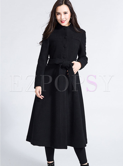 Brief Single-breasted Belt Long Sleeve Coat