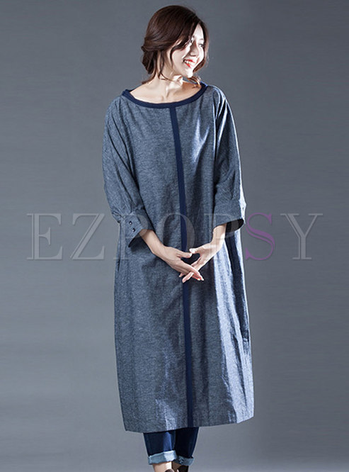 Blue Casual Loose Shift Dress