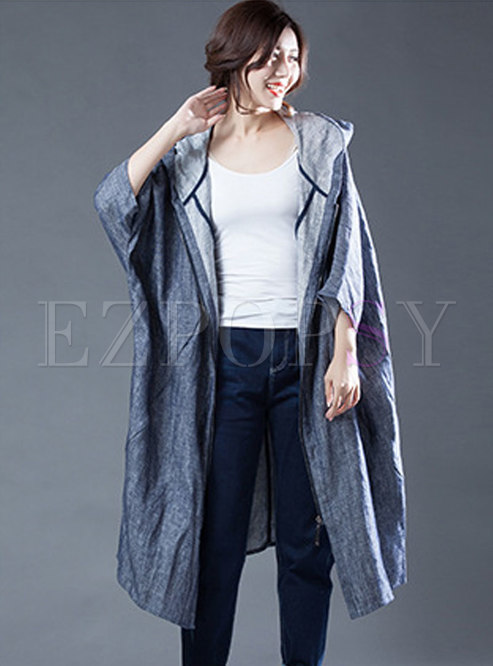 Fashion Hooded Loose Denim Coat