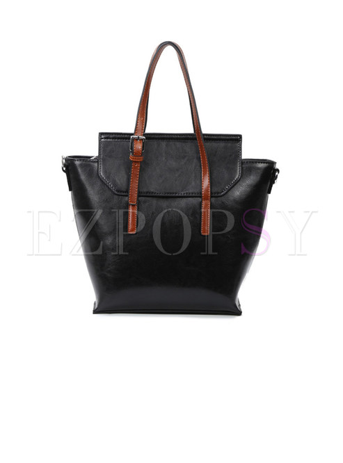 Stylish Hit Color Top Handle Bag