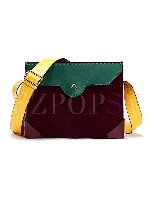 Brief Color-blocked Square Crossbody Bag