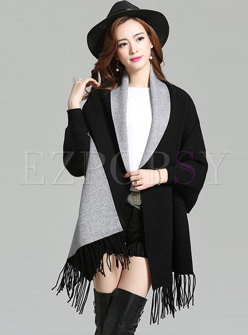 Loose Tassel Patch Bat Sleeve Kimono