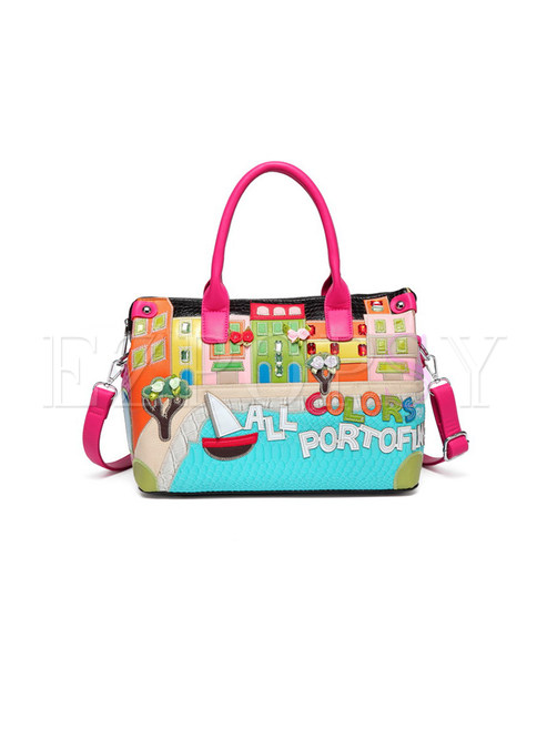 Cute Cartoon Embroidery Top Handle & Crossbody Bag