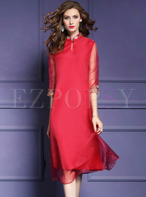 Red Loose Embroidered Cheongsam Dress