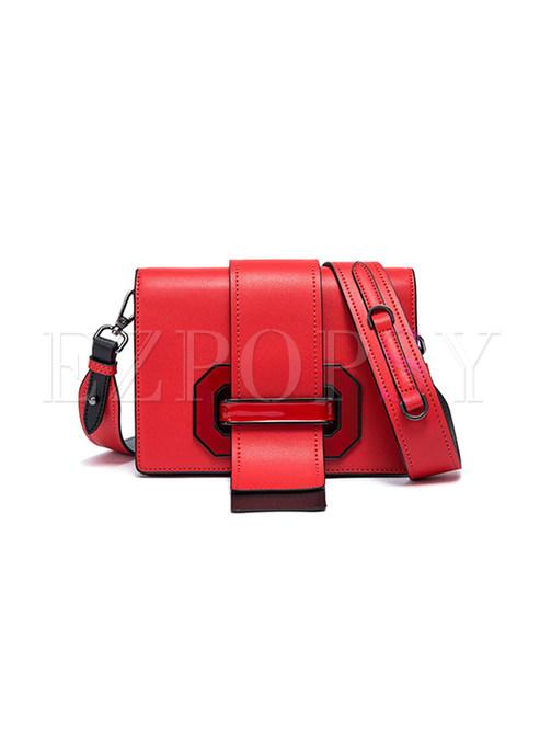 Chic Color-block Cowhide Crossbody Bag