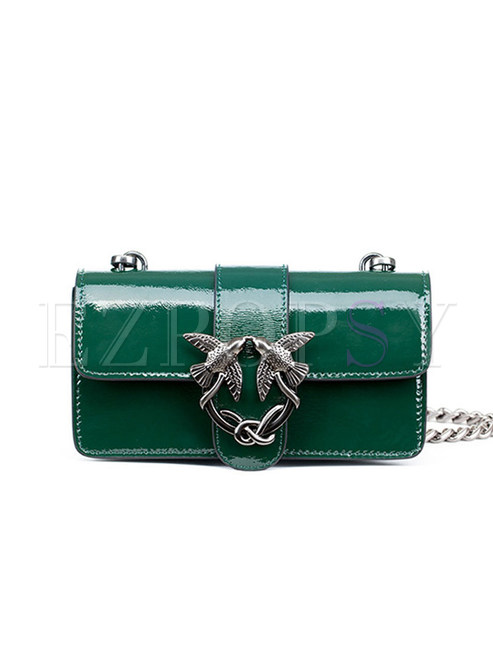 Chic Genuine Leather Chain Crossbody Bag