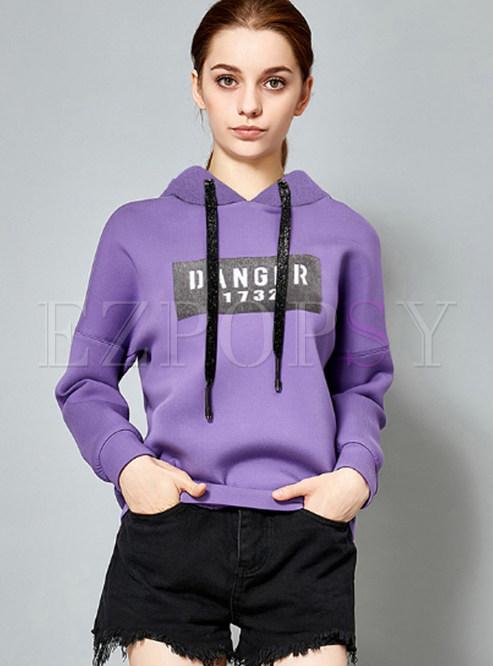 Sweet Purple Letter Pattern Hooded Tied Hoodies