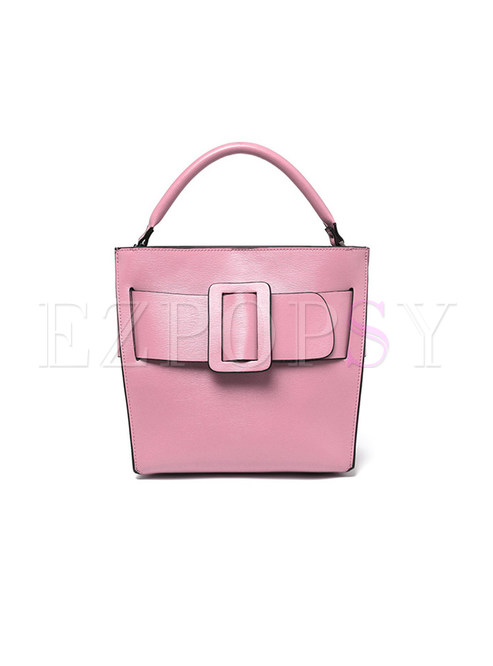 Stylish Popular Buckle Cowhide Crossbody & Top Handle Bag