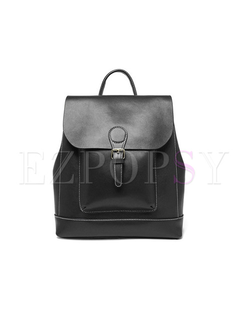 Vintage Buckle Cowhide Leather Backpack