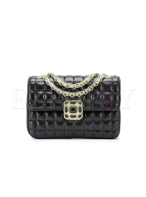 Stylish Quilting Clasp Lock Chain Crossbody Bag