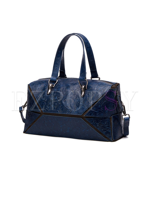 Street Embossing Cutting-design Top Handle Bag