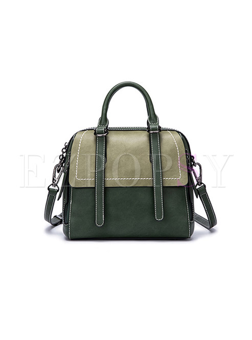 Retro Zipper Pocket Top Handle & Crossbody Bag