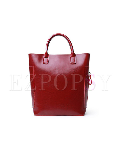 Brief Red Cow Leather Top Handle Bag