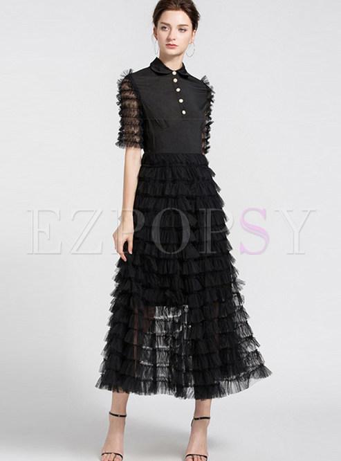 Chic Lapel Mesh Splicing Layered Hem Maxi Dress