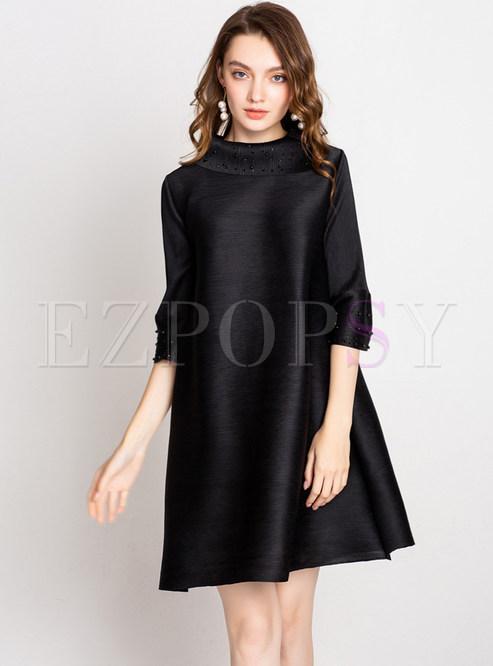 3/4 Sleeve Plus Size Beaded Pleated Dress
