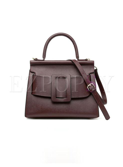 Fashion Wine Red Cowhide Shell-shape Top Handle Bag
