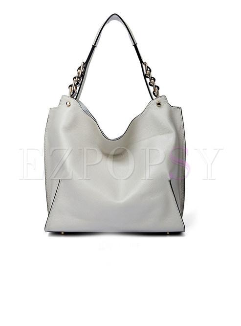 Fashion Grey Stereoscopic Chain Top Handle Bag