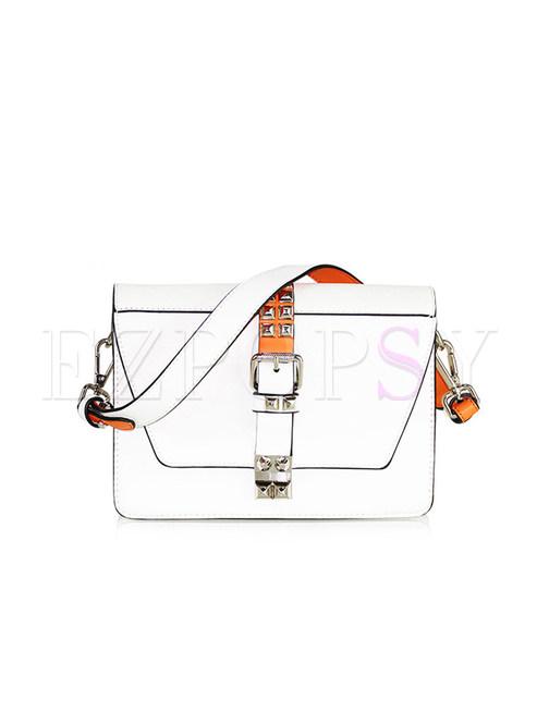 White Rivet PU Lock Zippered Crossbody Bag