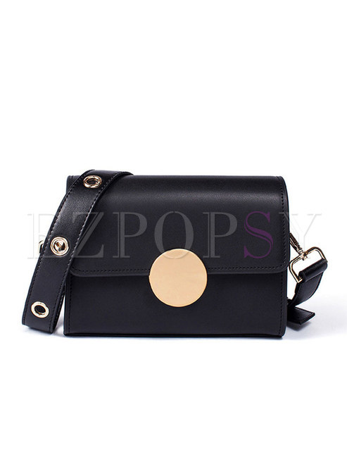 Stylish Black Metal Ring Wide Shoulder Strap Crossbody Bag