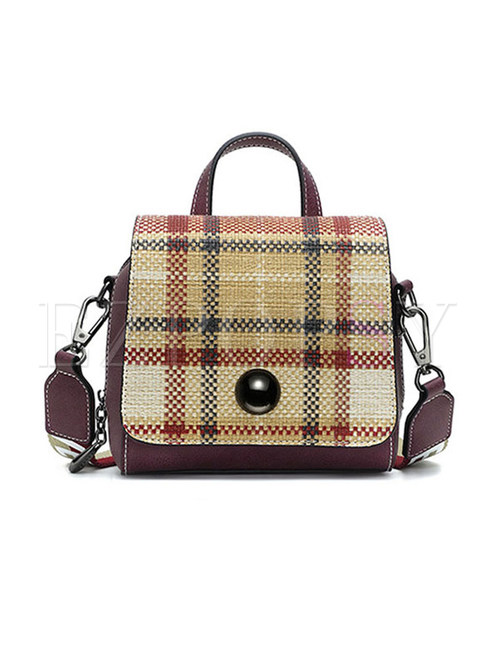 Chic Grid Magnetic Top Handle & Crossbody Bag