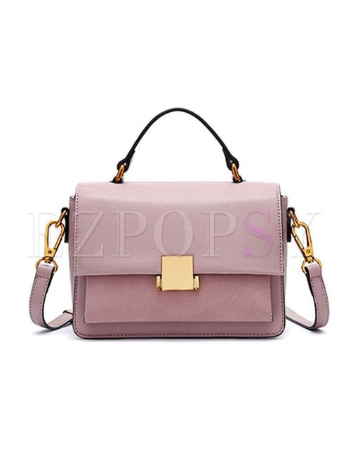 Casual Pink Lock Top Handle & Crossbody Bag