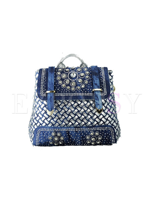 Casual Weave Drilling Jean Backpack