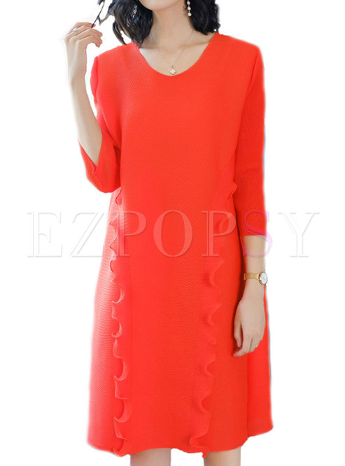 Dresses Shift Dresses Orange Ruffle Solid Color Loose Shift Dress