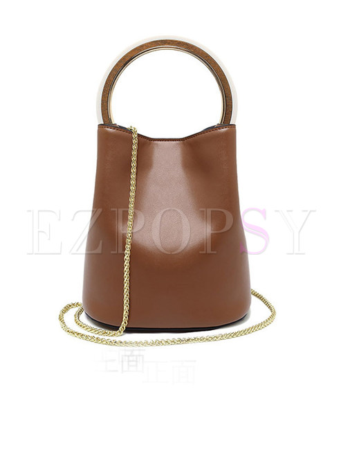 Chic Ring Magnetic Lock Top Handle & Chain Tote Bag