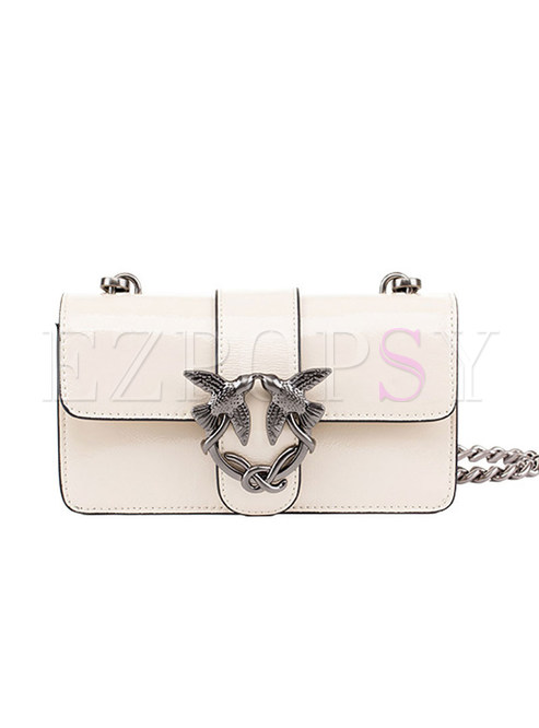 Brief Genuine Leather Metal Chain Lock Crossbody Bag