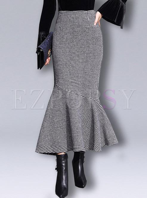 Trendy Woollen Plaid Flouncing Bodycon Skirt