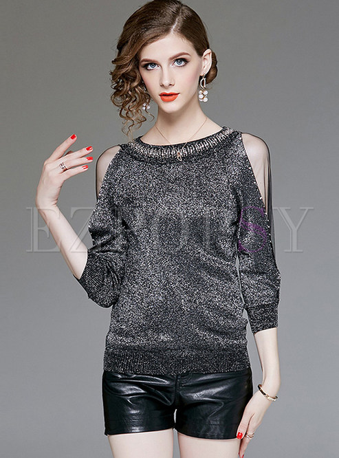 Trendy Solid Color Beaded Mesh Splicing Slim Sweater
