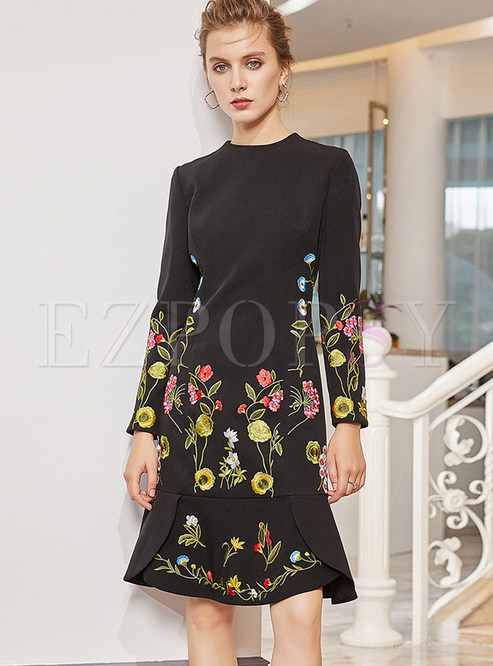 Fashion O-neck High Waist Print Mermaid Dress