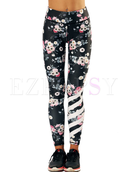 Floral Print High Waist Tight Fitness Pants
