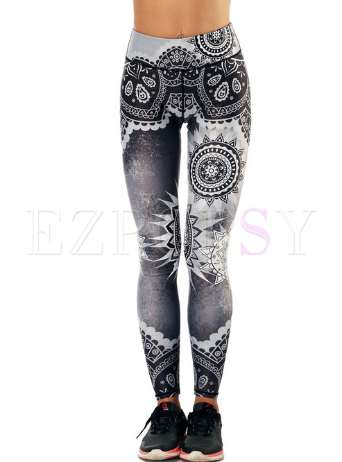 Stylish Print High Waist Fitness Pants