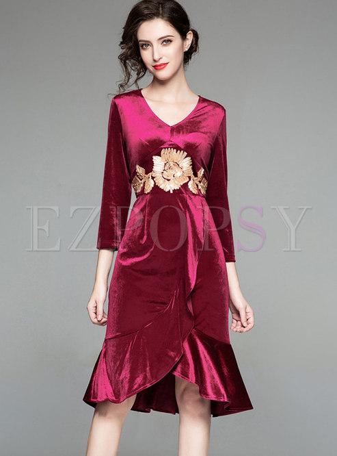 Red Velvet Mermaid Gathered Waist Irregular Dress