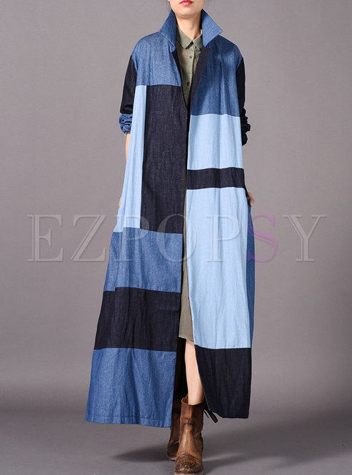 Chic Color-blocked Denim Turn Down Collar Long Trench Coat