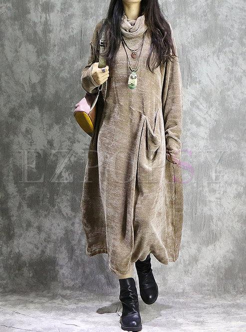 c714853aca0d Maxi Dresses.   Solid Color High Neck Loose ...