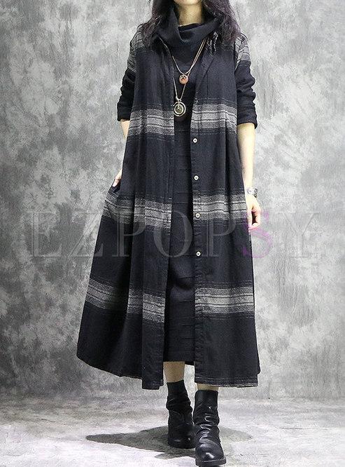 Retro Striped Lapel Single-breasted Long Coat