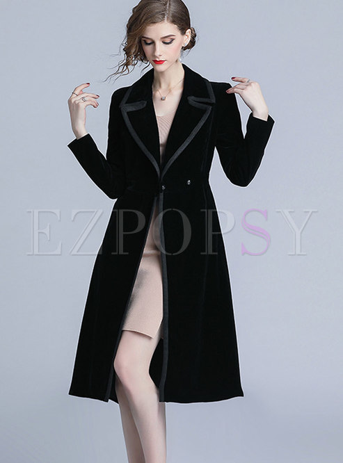 Stylish Black Turn-down Collar Velvet Trench Coat