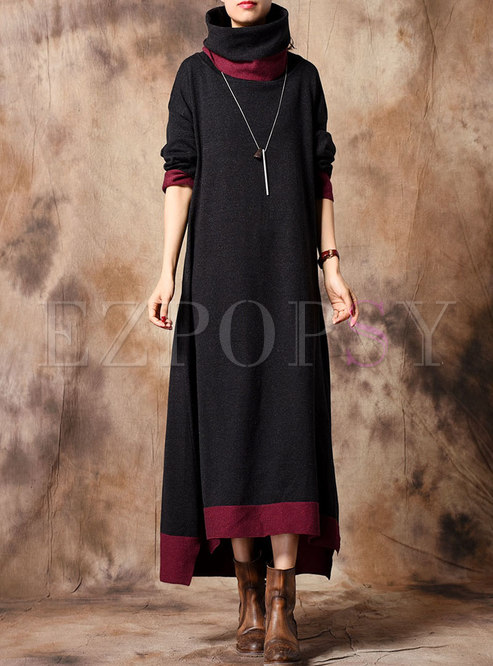 Color-blocked High Neck Asymmetric Knitted Dress