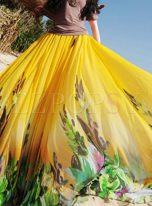 Fashion Beatch Elastic Waist Big Hem Print Skirt