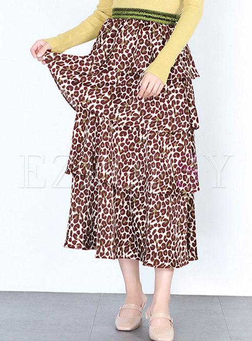 9ac0785004d Skirts.   Chiffon Elastic Waist Leopard Print Layered Skirt