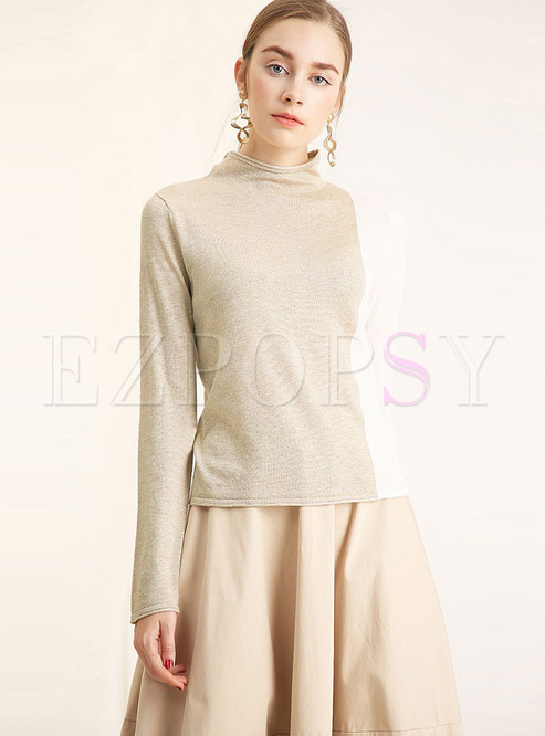 Standing Collar Long Sleeve Slim Color-blocked Sweater