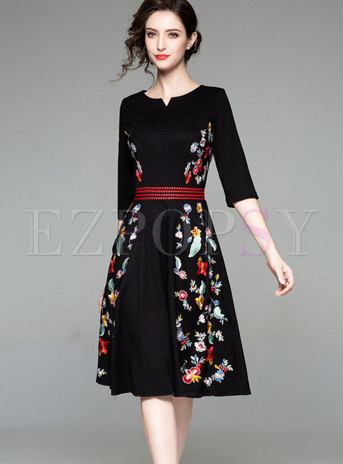 Stylish Color-blocked Embroidered Floral A Line Dress