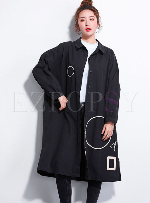 Plus Size Print Lapel Single-breasted Loose Coat