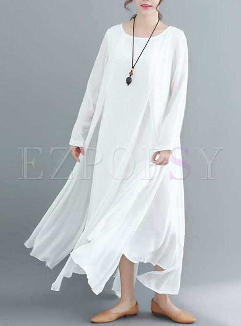 Chic Pure Color Asymmetric Hem Maxi Dress