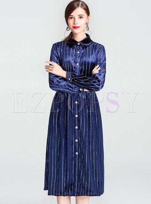 0f4bf361f575 Skater Dresses.   Brief Deep Blue Peter Pan Collar Long Sleeve Midi Dress